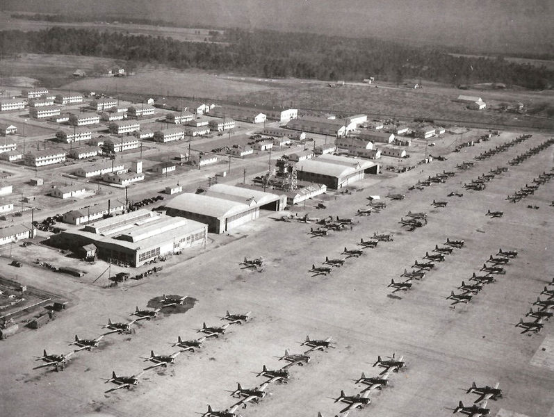 Arial view of BT-13s on the ramp at Cochran Field in 1943