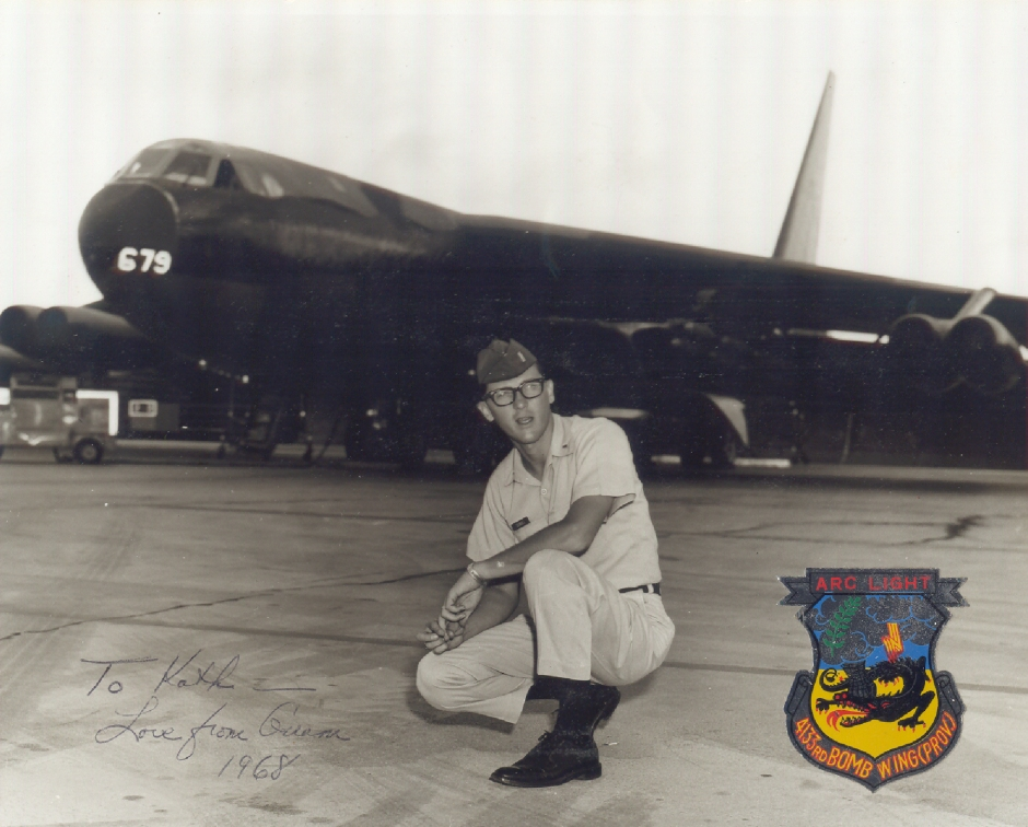 1st Lt. Dubiel in 1968 in front of a B-52 at Andersen AFB Guam