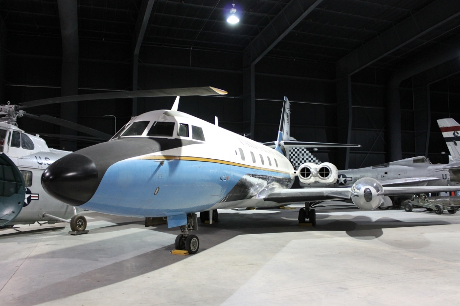 The Museum of Aviation's Lockheed VC-140B Jetstar,  serial number 61-2488, on display in the Scott Exhibit Hangar.
