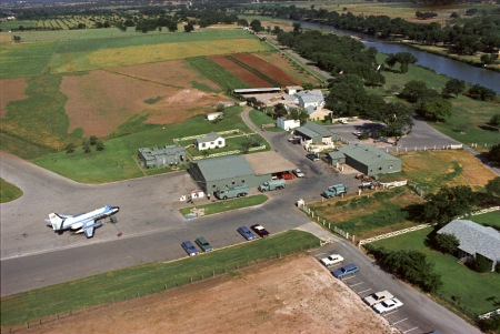 Aerial view of JetStar 61-2488 on June 24, 1967 at President Johnson's  ranch in central Texas, about 50 miles west of Austin. (LBJ Library photo.)