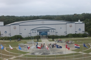 A Starbase Robins rocket launch in the ampitheater in front of the Century of Flight Hangar.