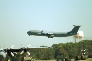 C-141C Starlifter #65-0248 departs Robins Air Force Base following a ceremony to mark the end of C-141 programmed depot maintenance. (US Air Force photo by Sue Sapp)