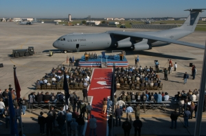 View of the ramp where the ceremony was held to mark the end of C-141 depot maintenance and the departure of C-141C 65-0248. (US Air Force photo by Eric Palmer)