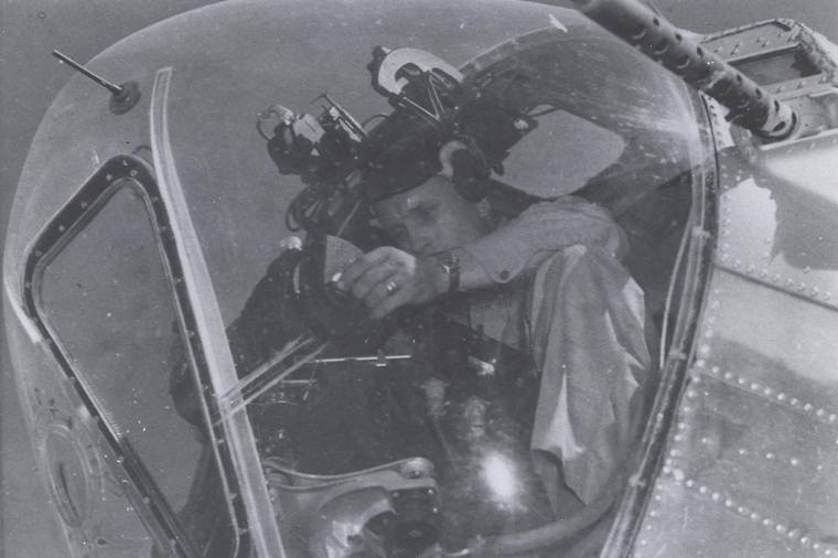 bombardier in nose of B-17_483 BG_85-5-88