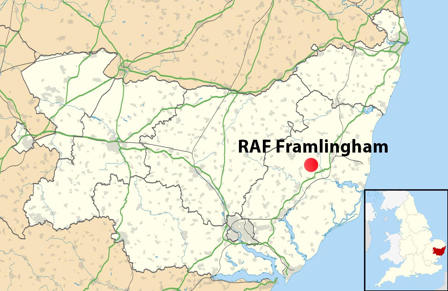 RAF Framlingham_map of Suffolk